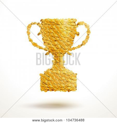 Golden cup made of enormous number of coins. Creative vector illustration.