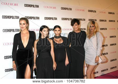 LOS ANGELES - OCT 12:  Khloe Karsahian, Kourtney Kardashian, Kim Kardashian West, Kris Jenner, Kylie Jenner at the Cosmo's 50th Anniversary Party at the Ysabel on October 12, 2015 in Los Angeles, CA