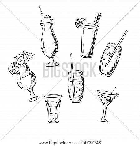 Drinks, cocktails and beverages sketches