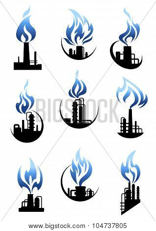 Gas and oil industry factories icons set