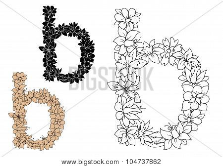 Lower case Letter B with floral elements