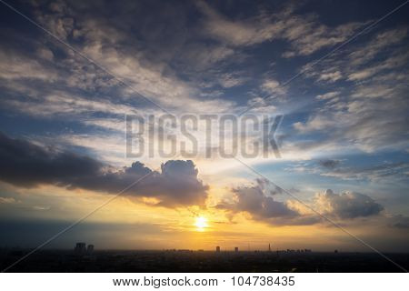Sunset Golden Sunlight Blue Orange And Yellow Tone Dusk Sky In City Silhouette