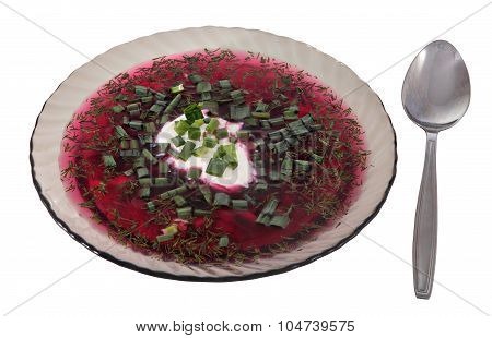 Dish Of Clear Gray Glass, Cold Beet Soup, Russian Borscht.