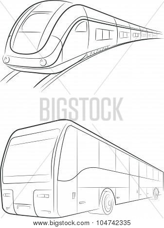 Bus & Train Vector Outline