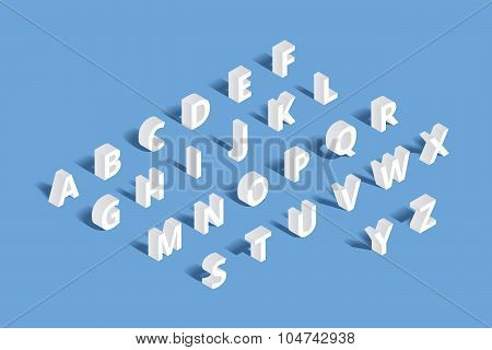 Vector 3d isometric alphabet