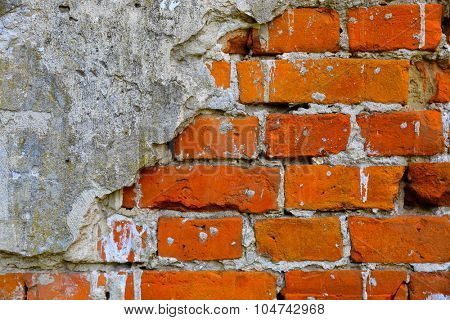 Abstract red brickwork wall of old building