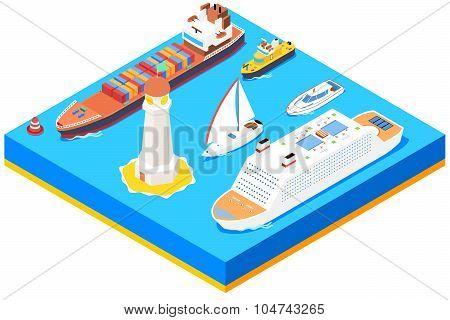 Isometric sea ships vector set