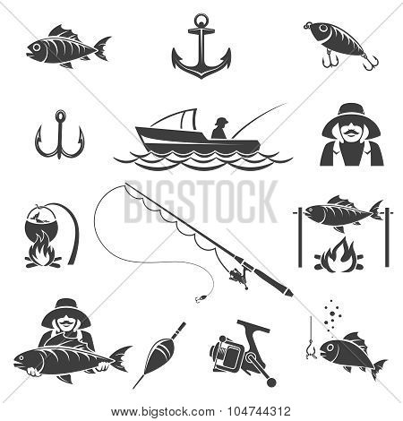 Fishing black icons vector set
