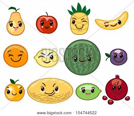 Fruit kawaii characters