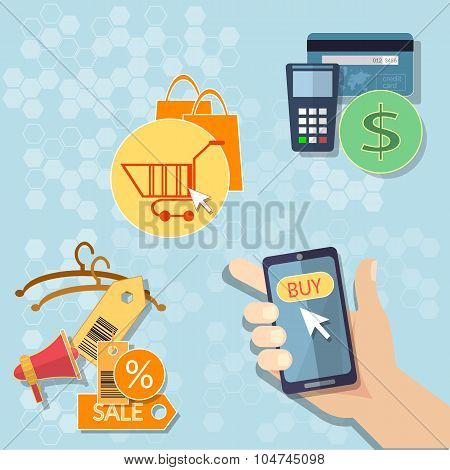 Hand Of Business Man Touching Smartphone With Online Shop Internet Shopping Online Store E-commerce