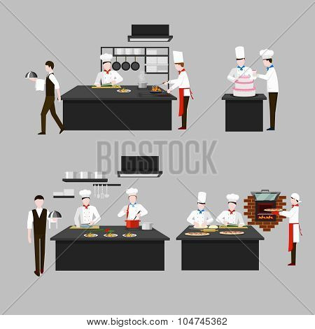 Cooking process in restaurant kitchen