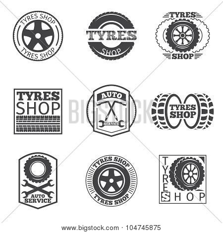 Tyre store logo. Vintage car vector label