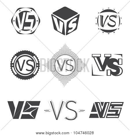 Versus letters logos. Competition icons vector set