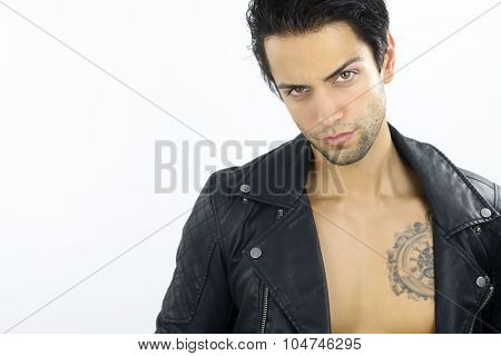 cute man wearing a leather jacket