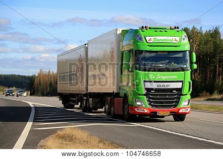 Lime Green DAF XF Full Trailer Truck On Motorway