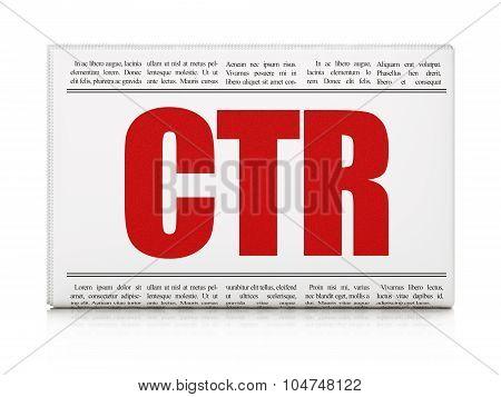 Finance concept: newspaper headline CTR