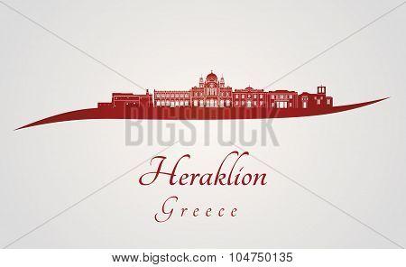Heraklion Skyline In Red