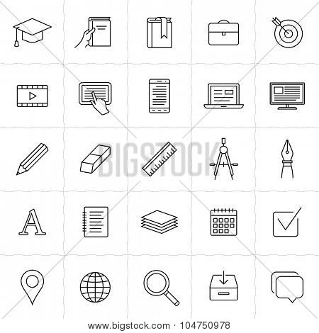Education linear icons. Simple outlined education and e-learning icons. Linear style