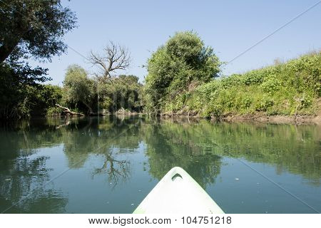 River View From The Kayak, With The Kayak Front Part On The Picture
