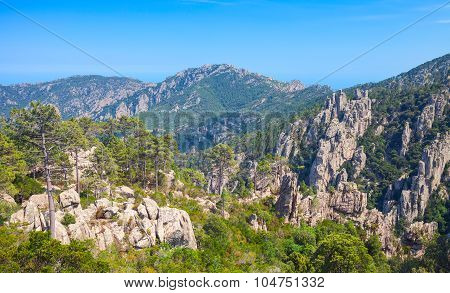 Wild Mountain Landscape. South Part Of Corsica
