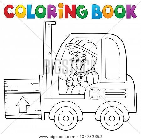 Coloring book fork lift truck theme 1 - eps10 vector illustration.