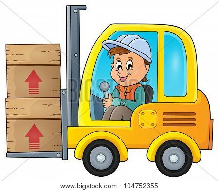 Fork lift truck theme image 1 - eps10 vector illustration.