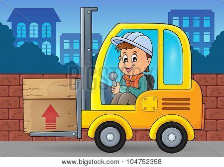 Fork lift truck theme image 3 - eps10 vector illustration.