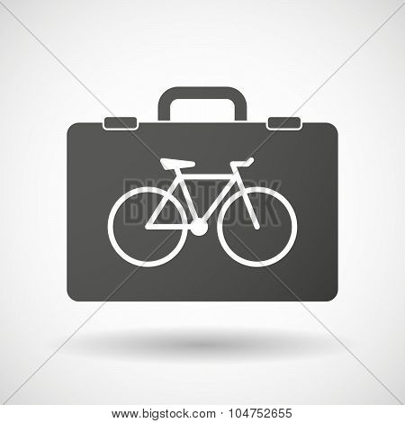 Isolated Briefcase Icon With A Bicycle
