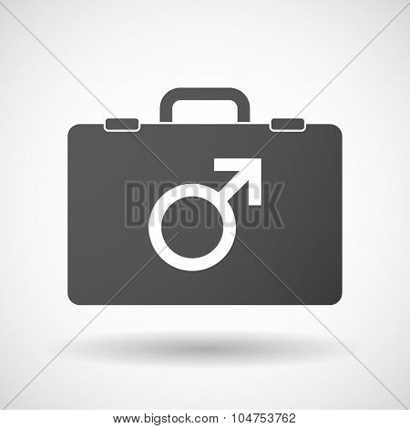 Isolated Briefcase Icon With A Male Sign