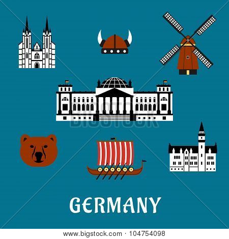 Germany travel and tourism flat icons