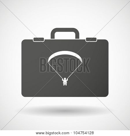 Isolated Briefcase Icon With A Paraglider