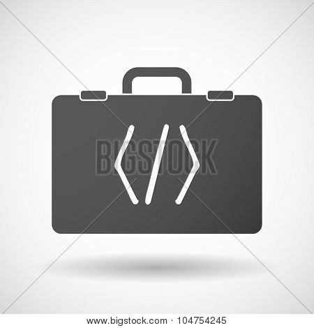 Isolated Briefcase Icon With A Code Sign