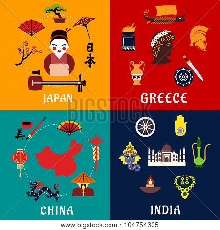 Japan, China, India and Greece travel icons