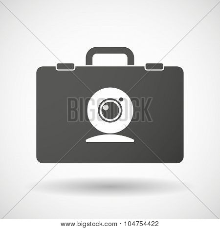 Isolated Briefcase Icon With A Web Cam