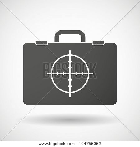 Isolated Briefcase Icon With A Crosshair
