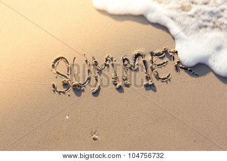 Summer word on sea beach