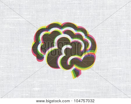 Science concept: Brain on fabric texture background