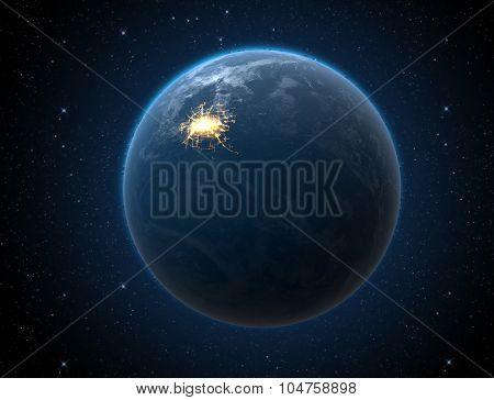 Planet With Illuminated City
