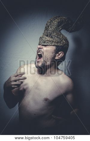 Thron, naked man with helmet warrior trumpets, and pain nightmare