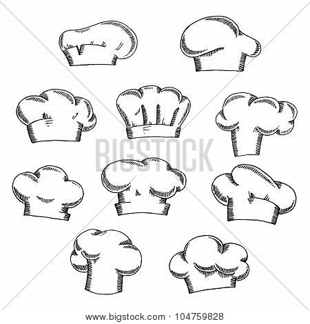 Chef and baker hats or toques sketches