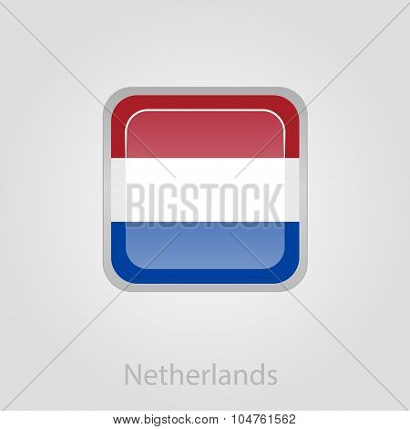 Netherlands flag button, vector illustration