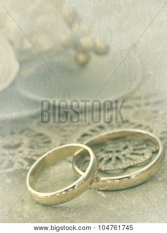 wedding rings in retro arrangement