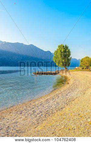 Beautiful peaceful lake Garda, Italy. Sunset.