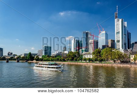 Boat Cruise Through The Main River And Skyscrapers Of Frankfurt Am Main Downtown