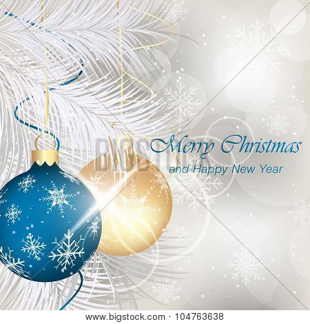 Merry Christmas And Happy New Year Greeting Card With Baubles, Ribbons, Stars, Shiny Effect, Snowfla