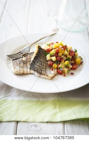 Seabass With Watermelon, Pineapple And Mango Salsa