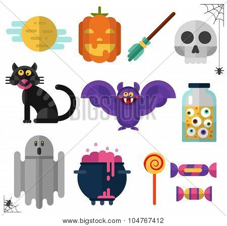 Icons set of Halloween