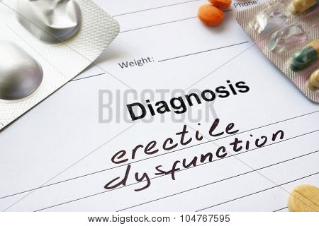 Diagnosis erectile dysfunction written in the diagnostic form.