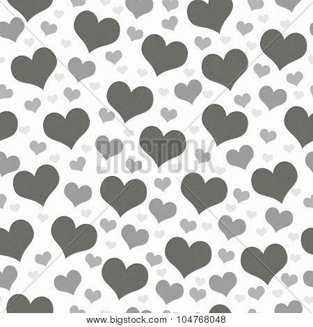 Gray And White Hearts Tile Pattern Repeat Background