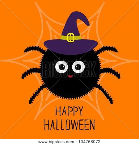 Cute Cartoon Fluffy Spider On The Web. Witch Hat. Halloween Card. Flat Design.
